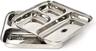 King International 100% Stainless Steel Three in one Dinner Plate Three sections divided plate Three section plate -Set of 2 Mess Trays Great for Camping, 24.5 cm