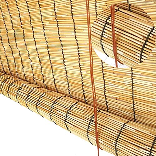 Balcón Terraza Persianas De Bambu Exterior De Caña, Transmision De Luz Estores Enrollable, Color Natural Estores Bambú Cortina De Madera, para Aire Purificador, Ajustar La Temperatura Ambiente, No Se