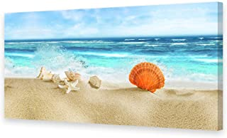 CBHWallArt Canvas Wall Art Seashell Starfish on Beach Picture Canvas Artwork 1 Pieces Blue Ocean and Waves Seaview Prints for Bedroom Living Room Decoration Office Wall Decor Ready to Hang 20X40inch