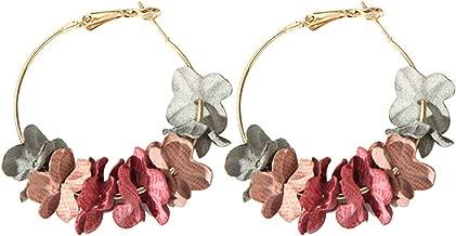 Elegantes pendientes de gota de flores de tela Sweety coloridos pendientes de aleación de pétalos grandes de círculo para las mujeres