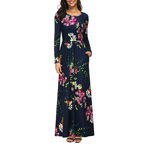 ed51d141f56b Zattcas Womens Long Sleeve Maxi Dress Floral Print Casual Long Dresses with  Pockets …