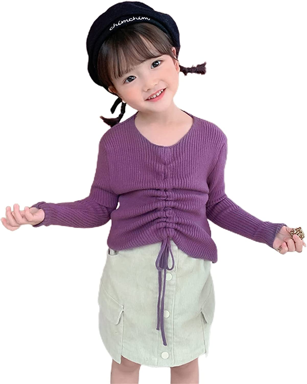 Kids Autumn Sweater Solid Color Superior Luxury O-Neck Long Drawstring Sleeve K