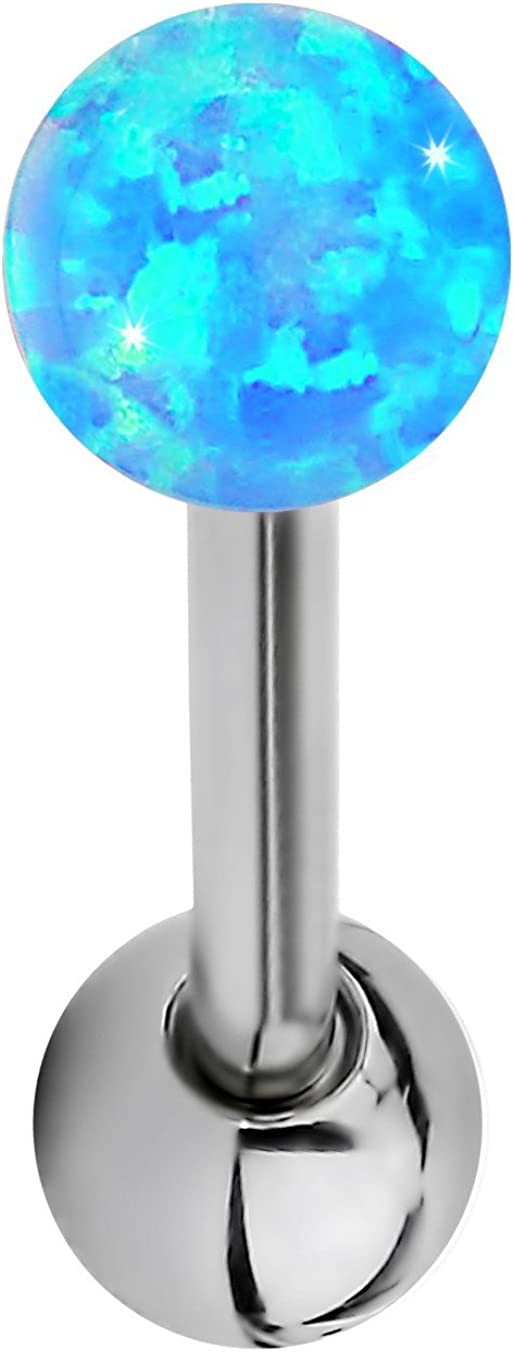 Forbidden Body Jewelry 14G 16mm (5/8 Inch) Resin Imitation Opal Ball Top Tongue Ring Barbell, 5mm End Balls