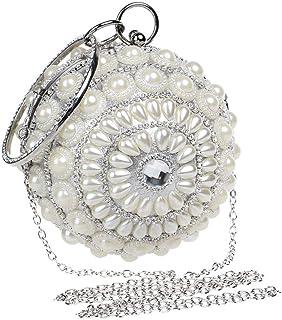 Fine Bag/Women's Beaded Sequin Pearl Evening Clutch Bag for Bridal Wedding Cocktail Handbag Prom Bag Banquet Bag (Color : Silver, Size : One Size)