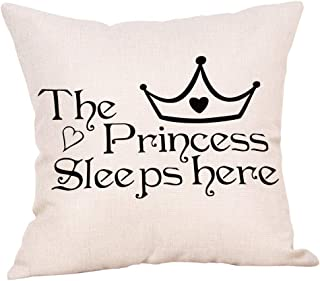 Ogiselestyle The Princess Sleeps here Motivational Sign Cotton Linen Home Decorative Throw Pillow Case Cushion Cover for Sofa Couch, 18