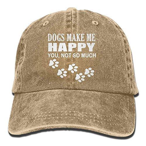 Transpirable Ocio Sombrero,Cómoda Sombrero De Deporte,Secado Rápido Dad Hat,Sombrero De Gorra De Béisbol Para Mujer Para Hombre Los Perros Me Hacen Feliz No Tanto Sombrero De Papá De Mezclilla Vinta