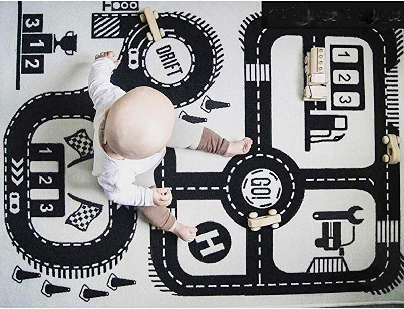 TINTON LIFE Road Baby Playmat Rug Toddler Kid Adventure Carpet Activity Crawling Mats For Infants Playroom Nursery Bedroom 35 4 X 55 9