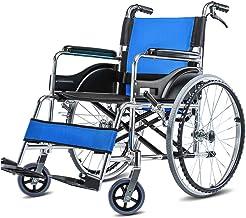 Zhi BEI Wheelchair, Aluminum Alloy Elderly Disabled Manual Wheelchair with Hand Brake, Lightweight Folding Portable Travel  