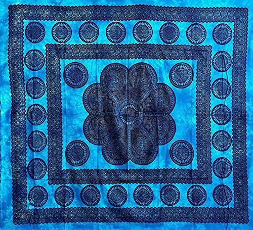 Telo Arredo Copritutto Grande Poseidon 220x240cm 100% Cotone Copri divano Gran foulard Batik Indiano (Azzurro)