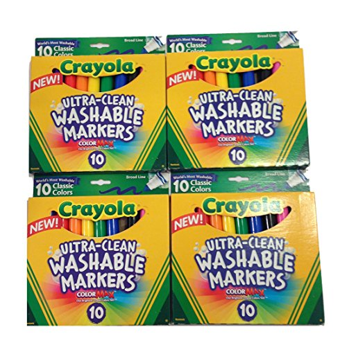 Crayola Ultraclean Broadline Classic Color Max Washable Markers (10 Count), (Pack of 4)