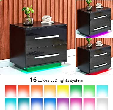 4HOMART Bedside Table 2 Drawers High Gloss Nightstand Cabinet Side Table End Table with LED Light for Bedroom