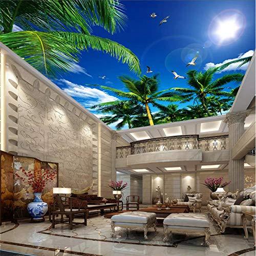 Fototapete Benutzerdefinierte Deckentapete Kokospalme Blauer Himmel Weiße Wolken Möwe Decke Foto 3D Wallpaper,400Cmx280Cm