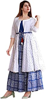 VM Collection Rayon Kurti with Polka DOTT Jacket for Women and Girls White
