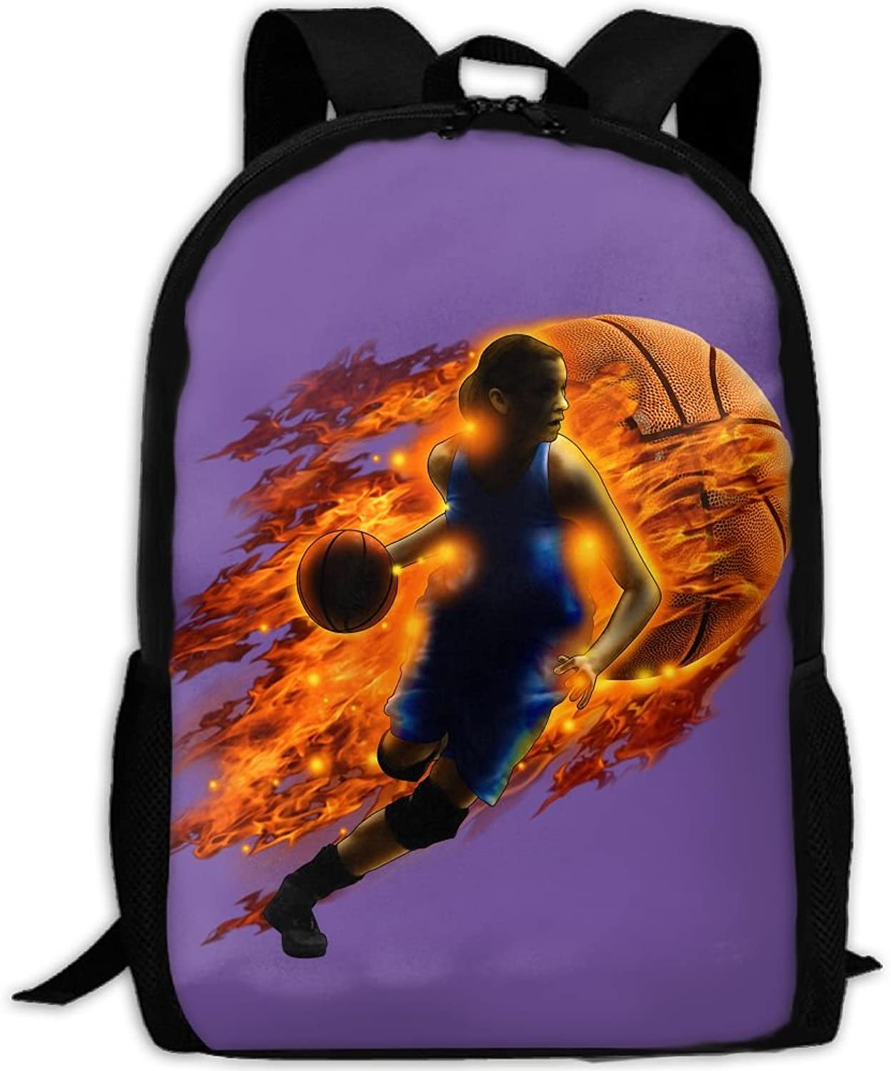 Backpack Laptop Travel Hiking School Bags Female Basketball Player On Fire Daypack Shoulder Bag