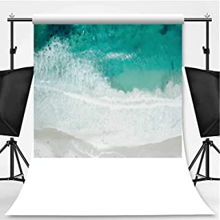 Aerial View of Waves Crashing on Sandy Beach Photography Backdrop,092298 for Video Photography,Pictorial Cloth:6x10ft