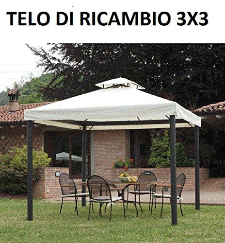 Megashopitalia Top Telo Copertura di Ricambio per Gazebo 3x3 MT con Airvent Originale Bianco
