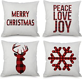 Kaitse Christmas Pillow Covers 4 Pack, Merry Christmas and Christmas Deer, Snowflake, Joy Peace Love Decorations, Cotton Linen Winter Pillow Covers New Year Decor Throw Cushion Case 18 X 18