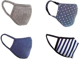 Cotton Face Mask Pack of 4 Washable Reusable Face Masks  Soft Earloop/Mouth Nose cover Face Masks Men Women Kids Unisex  cover Face Masks (stripe, polka dot,Grey & Navy blue)
