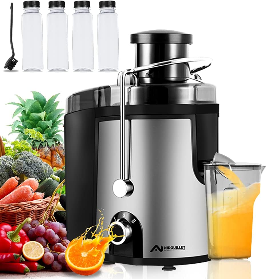 Nidouillet Juicer Machines, Wide Mouth Juice Extractor, Stainless Steel BPA Free Compact Fruits & Vegetable Juicer, 2 Speed with Non-drip Function Centrifugal Juicer, 4 Drink Bottles & Brush AB216