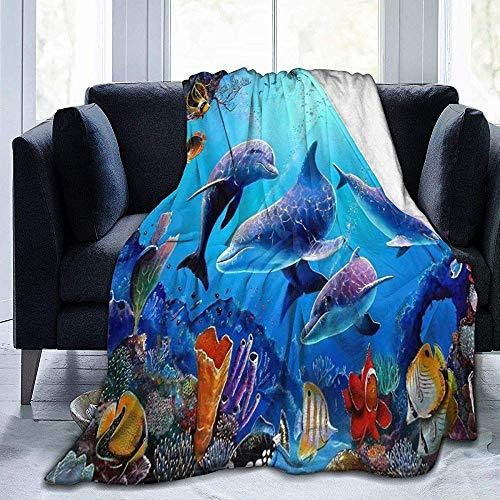 Aquarium Dolfijn vis zeewier blauwe zee Sherpa deken Comfy deken thermische dekens duurzaam lap deken warme bank deken
