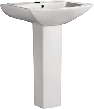 """Swiss Madison Well Made Forever SM-PS306 Pedestal Bathroom Sink Single Faucet Hole, 24"""" W, White"""