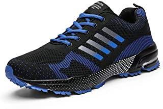 Huacud Men's Running Shoes Athletic Trail Sneakers Volleyball Sports Shoe Light Fitness Training Non Slip Shoe for Male Walking