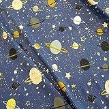 Stoff Baumwolle Jersey Meterware blau Gold Weltall Planeten