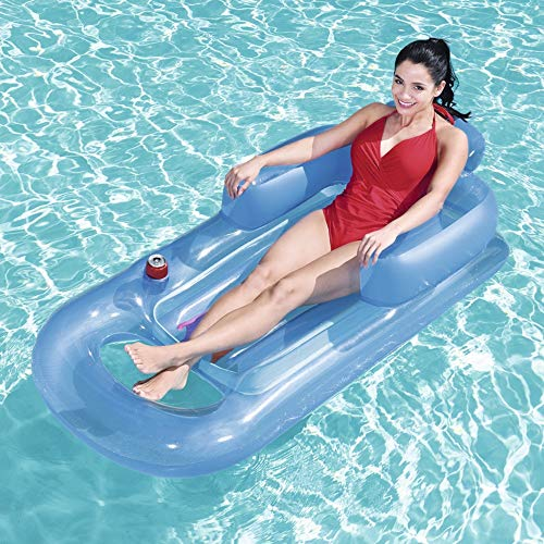 Shihong-G Inflatable Pool Lounger,Water Play Lounge Chair Recliner with Cup Holder Headrest Water Floating Row Inflatable Pool Float Bed Foldable Pool Seat for Indoor Outdoor Blue