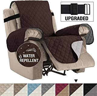 H.VERSAILTEX Reversible Recliner Cover Recliner Slipcover Recliner Furniture Protector 2 Elastic Strap Slip Resistant Water Repellent Slipcover Seat Width Up to 30 (Oversized Recliner, Brown/Beige)