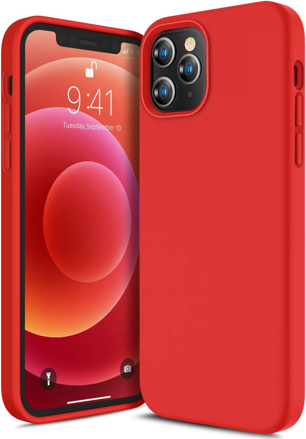 CANSHN Compatible with iPhone 12 Case and iPhone 12 Pro Case 6.1'' 2020, Liquid Silicone Soft Gel Rubber Full Body Protection Shockproof Phone Case Cover - Red