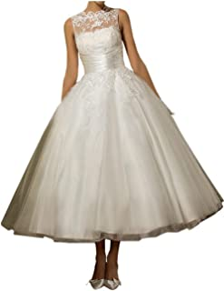 Women's Lace Scoop Sleeveless Tea Length Tulle Bride Ball Gown Wedding Dresses