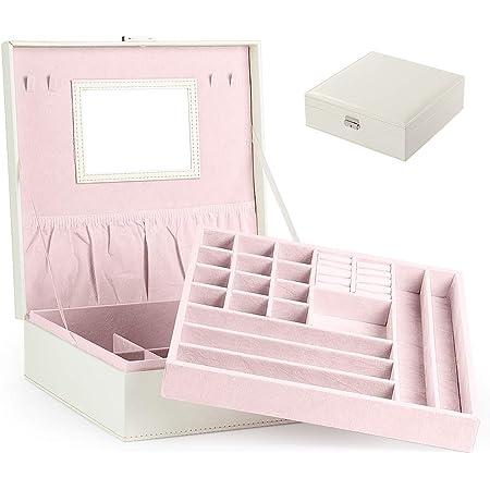 Portagioie Scatole per Gioielli Porta Gioielli Beauty Case Salvaspazio Scatola Custodia Box Cofanetto -Scatola con Specchio Scatola anello (Bianca)