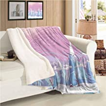 Xlcsomf Travel Blanket Mountain Lamb Velvet (60 x 30 inch) Cartoon Fantasy Landscape ICY Frozen Snowy Hills and Leafless Trees Winter Scenery Multicolor