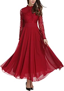 long red lace prom dress