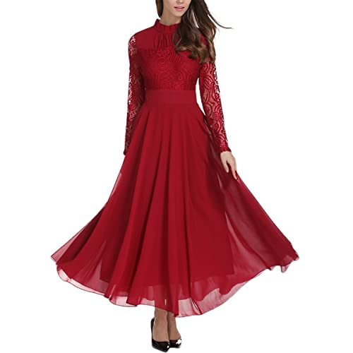8bff50a564a8 Milumia Women's Vintage Floral Lace Long Sleeve Ruched Neck Flowy Long Dress