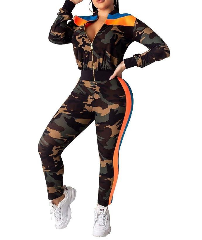 小道具矛盾する契約AGAING Women's Long Sleeve Zip up Top and Skinny Pants Outfits 2-Piece Suit