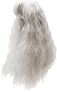 Toygogo 1/3 BJD Doll Full Wig Anime Girl Cosplay 9-10inch 22-24cm for Night Lolita SD DZ DOD LUTS, Fantasy Curly Hair with Neat Bangs, Silver Gray