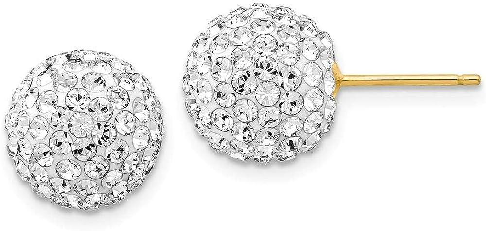 14k Yellow Gold Crystal Disco Ball Post Earrings