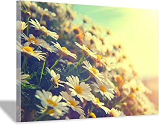 HD Printed Sunflowers Canvas Beautiful Spring Scenery Canvas Art Painting Decor (24x36 inch,Framed)