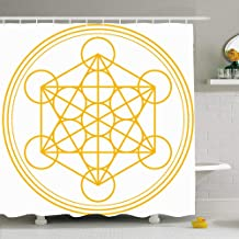 Ahawoso Shower Curtain Set with Hooks 66x72 Metatron Cube Seal Pattern Metatrons Merkaba Structure Derived Force Signs Symbols Symbol Cut Life Waterproof Polyester Fabric Bath Decor for Bathroom