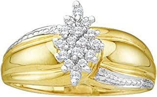 0.15 Carat (ctw) 10K Round White Diamond Ladies Right Hand Cluster Ring, Yellow Gold