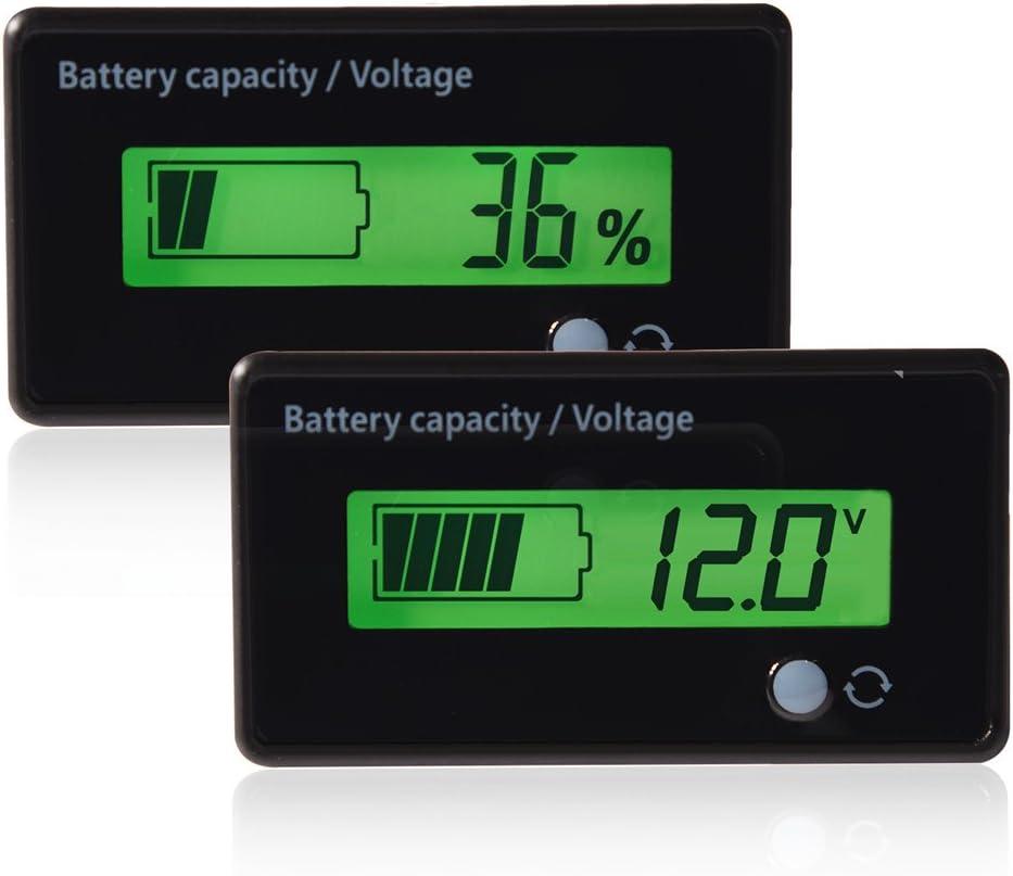 Digital Power Meter Tester,LCD Display Battery Capacity Voltage Meter Tester Voltmeter Monitor Green Backlit Universal Battery Voltage Meter with a PVC Film