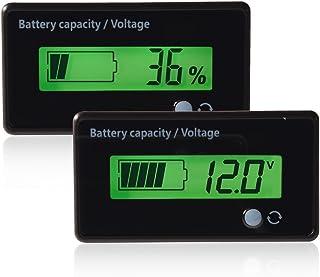 fosa Waterproof Battery Capacity GY-6D Display, Green Backlit LCD Display Battery Capacity Voltage Meter Tester Voltmeter ...