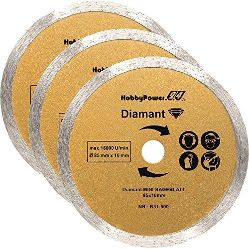 Mini Handkreissäge 3er-Set Sägeblatt Diamant-Trennscheibe 85x10mm für Scheppach Tauchsägen PL285