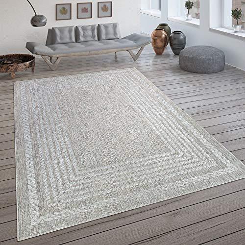 Paco Home In- & Outdoor-Teppich, Flachgewebe Mit Skandi-Design Und Sisal-Optik In Cream, Grösse:160x230 cm