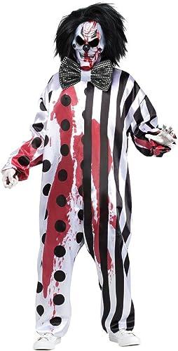 Killer Clown Kostüm mit Blautender Maske inklusive Pumpe , Größe XL