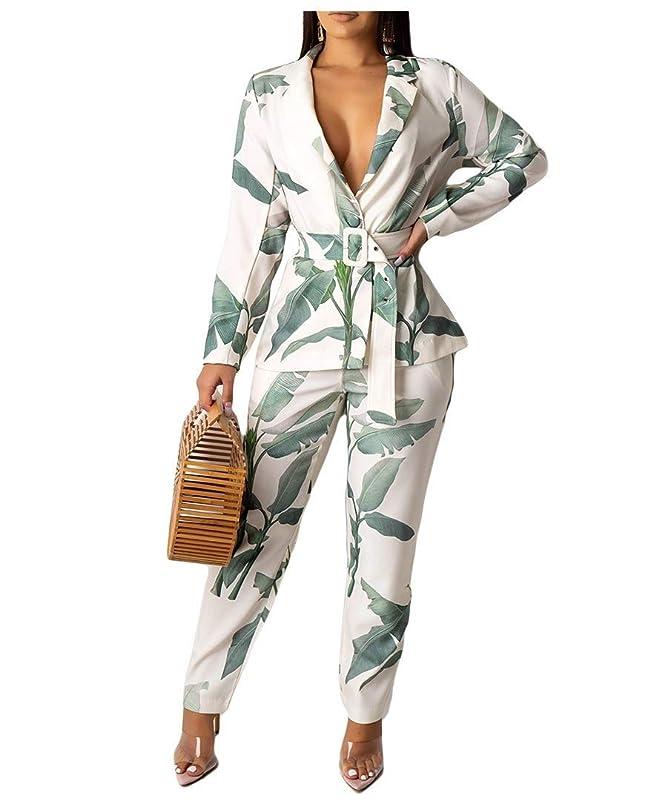 悪質な土器十分なNicellyer Women Floral Casual Belted Blazer and Long Pants Two Piece Suit