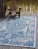 Unique Loom Outdoor Traditional Collection Distressed Vintage Medallion Transitional Indoor and Outdoor Flatweave Blue  Area Rug (5' 0 x 8' 0)