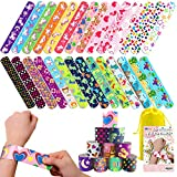 168 PCs Slap Bracelets for Kids Party Favors with Unicorn Colorful Hearts and Animal Emoji for Gift for Valentines Day, Classroom Exchange