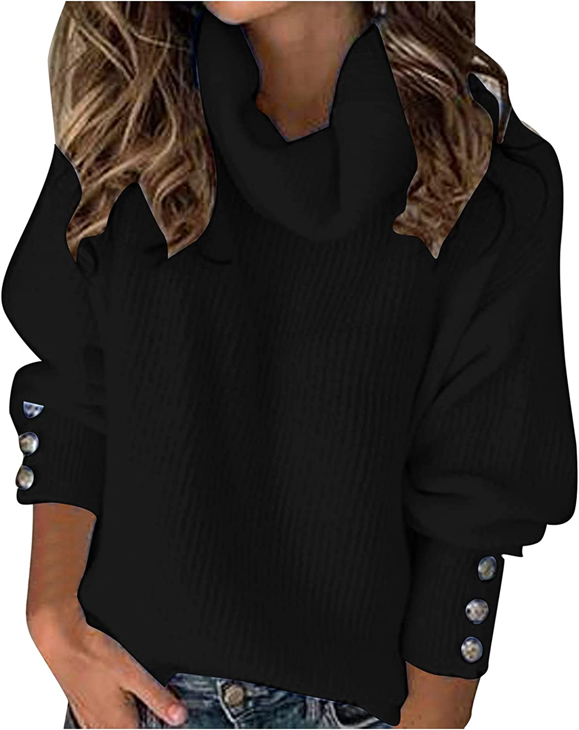 Sweaters for Women Casual Winter Turtleneck Long Sleeve Sweater Casual Loose Pullover Sweater Jumper Tops Blouses
